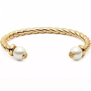 Tory Burch Gold Nautical Rope Pearl Cuff Bracelet